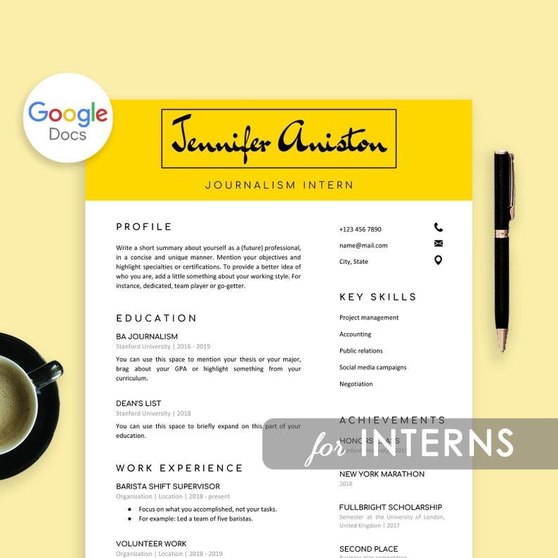 Intern Resume Template Google Docs Resume For Internship | Etsy