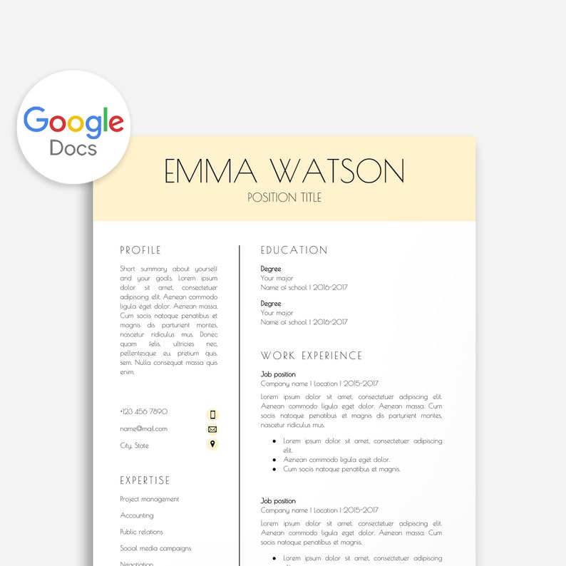 Professional Resume Template For Google Docs 2 Page