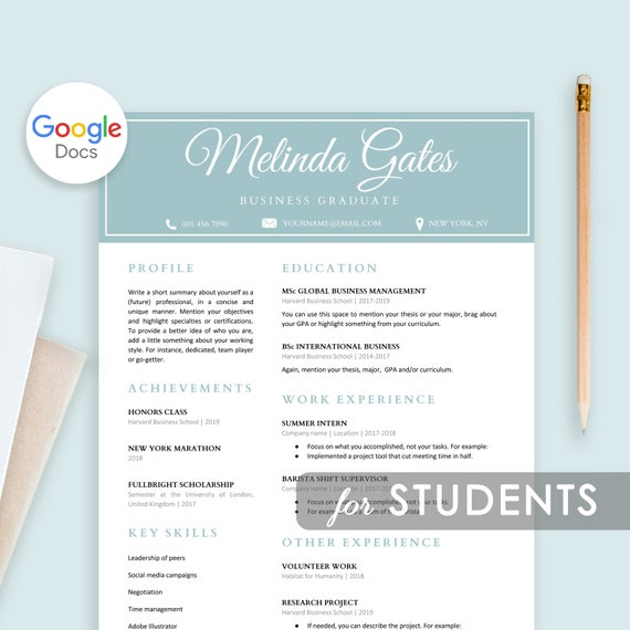 Student Resume Template Google Docs Resume For Students Resume Template First Job College Student Resume Graduate School For Freshers