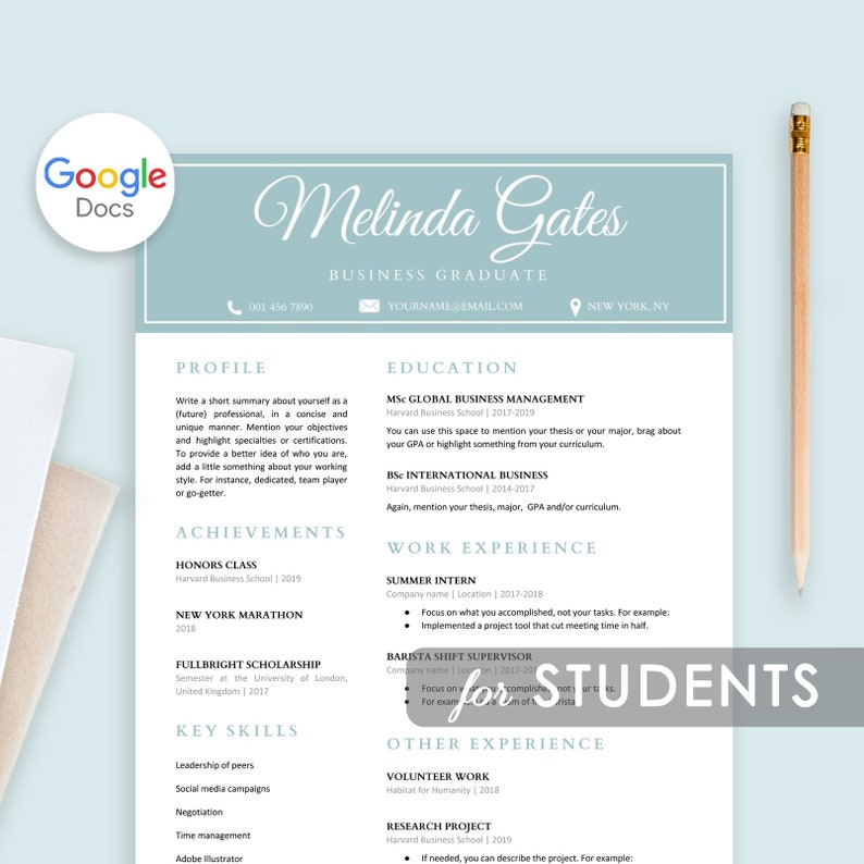 Student Resume Template Google Docs, Resume For Students, Resume Template  First Job, College Student Resume, Graduate School, For Freshers