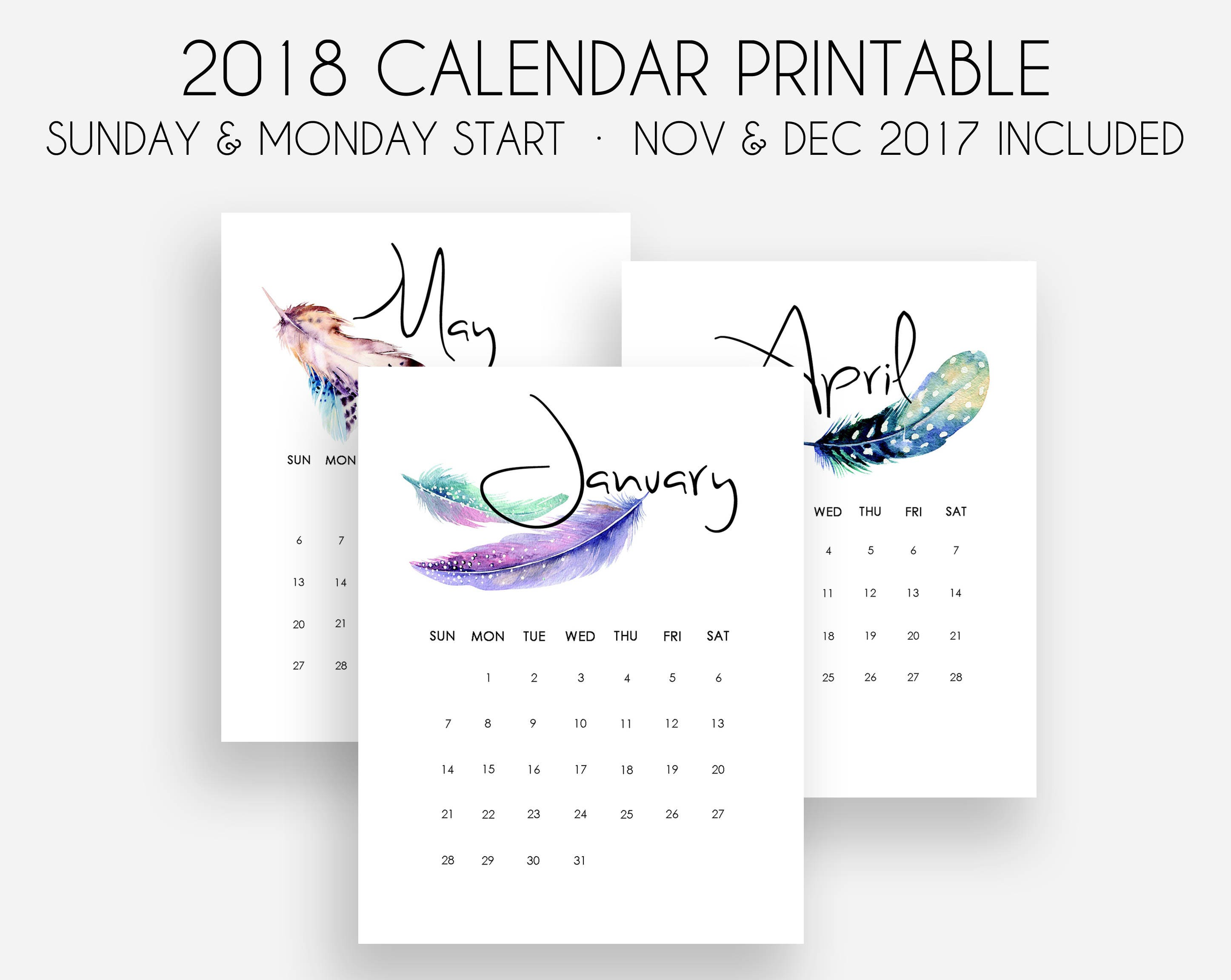 Printable 2018 Kalender Monats-Kalender 2018 Kalender