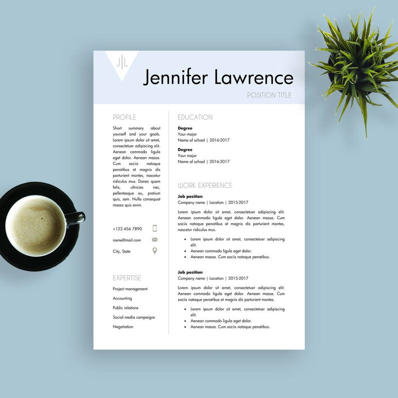 motivatiebrief sjabloon CV Sjabloon Motivatiebrief Sjabloon Word Document CV | Etsy
