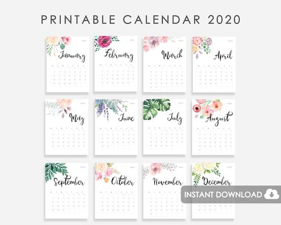 2020 Calendar Printable Desk Calendar 2020 2020 Wall Calendar Watercolor Flowers Calendar 2020 2020 Desk Calendar 2020