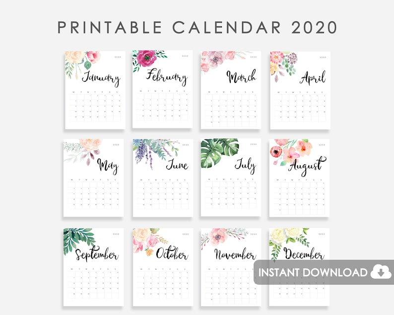 picture relating to Printable 2020 Calendar titled 2020 Calendar PRINTABLE, Table Calendar 2020, 2020 Wall Calendar Watercolor Bouquets, Calendar 2020, 2020 Table Calendar, 2020