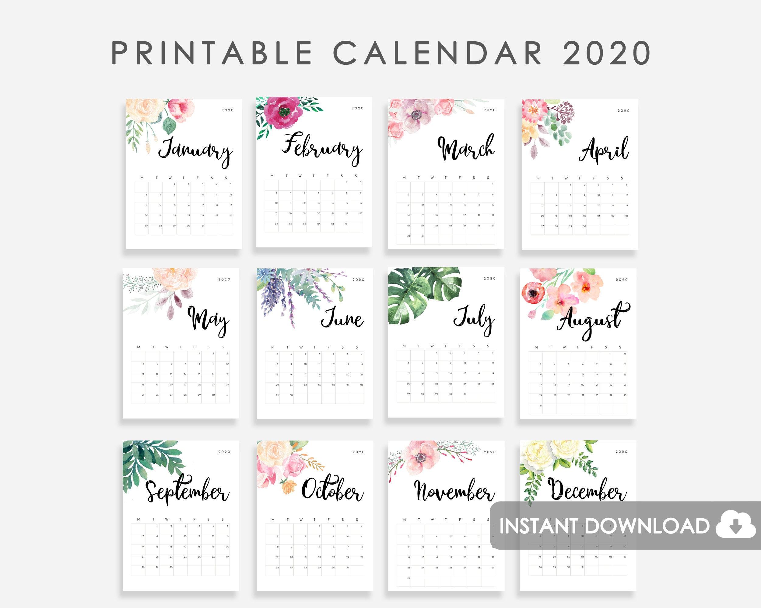 Desk Calendar 2020.2020 Calendar Printable Desk Calendar 2020 2020 Wall Calendar Watercolor Flowers Calendar 2020 2020 Desk Calendar 2020