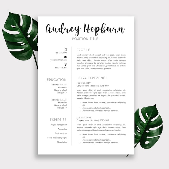 Resume Template | Cover Letter Template | Printable | Word Document |  Editable | Professional CV | Instant Download | Resume Package Pro