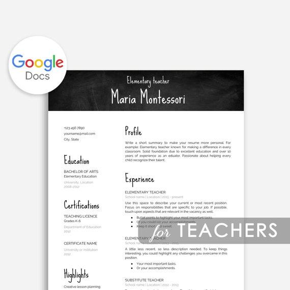 Teacher Resume Template Google Docs Cover Letter Teacher Etsy