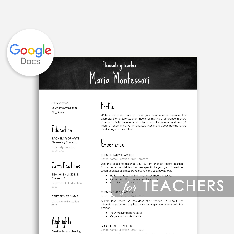 Teacher Resume Template Google Docs, Cover Letter Teacher Google Docs,  Resume Teacher Google Docs, Google Teacher Resume, Teacher Google Doc