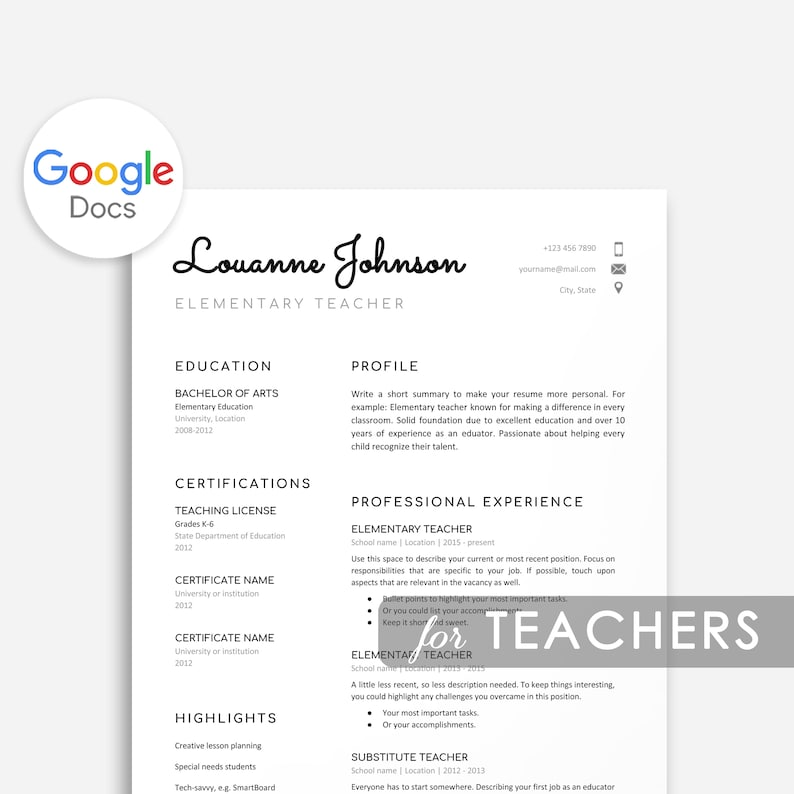 Resume Teacher Google Docs Template Cover