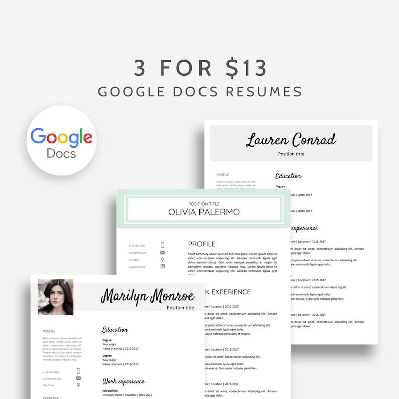 Google Docs Resume Template Bundle 3x Resume Google Docs | Etsy