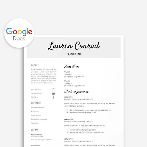 Resume Template For Google Docs Printable Resume Editable Instant Download No Microsoft Word Required