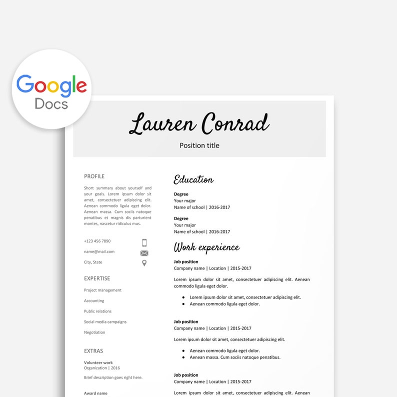 Resume Template for Google Docs Printable Resume Editable | Etsy