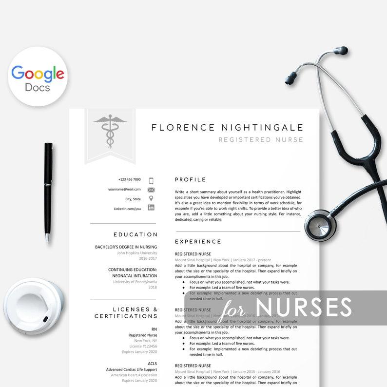 Nurse Resume Template for Google Docs, Resume Nurse, Medical Resume, RN  Resume, Healthcare Resume Doctor, Instant Download Resume Template