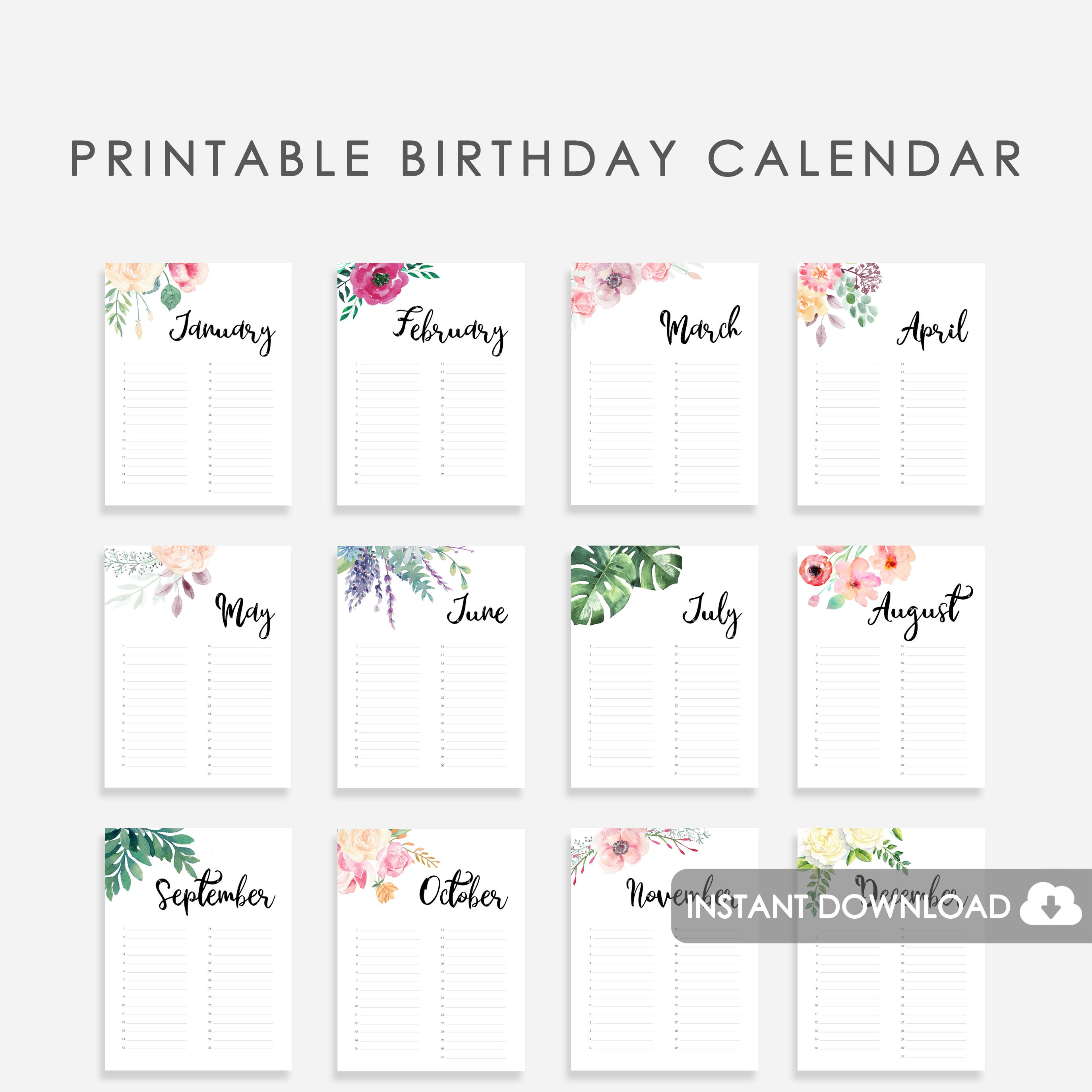 photo about Printable Birthday Calendar identified as Marriage Visitor E book Birthday Calendar Printable, Wedding ceremony Visitor Guide Printable Birthday Calendar, Perpetual Calendar for Birthdays, Watercolor
