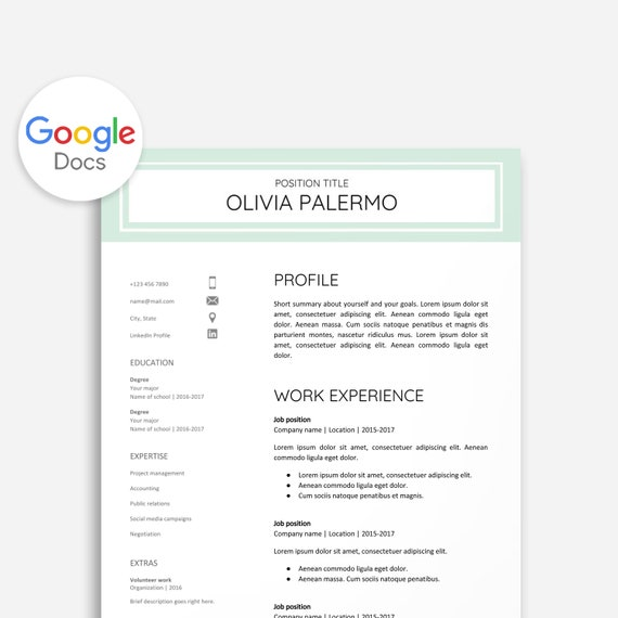 Resume Template Google Docs Cover Letter