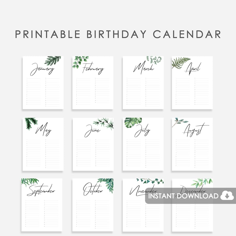 photo regarding Free Printable Perpetual Birthday Calendar Template known as Perpetual Birthday Calendar Printable, Wedding day Visitor E-book Printable, Printable Birthday Calendar Watercolor Greenery, Printable Perpetual