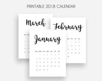Printable 2018 Calendar   Monthly Calendar 2018   Sunday Start   Calendar 2018 Printable   Calendar Planner 2018   Minimalist Calendar