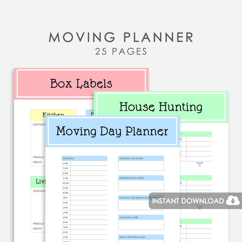 photograph about Printable Moving Checklist and Planner called Shifting Planner Printable, Transferring Printable, Printable Shifting Binder Relocating Organizer, Shifting Planner Package, Relocating Record , Space Planner