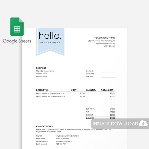 Factuur Sjabloon Google Sheets Factuur Template Excel Freelancer Factuur Fotograaf Factuur Zzp Factuur Google Sheets Factuur Sjabloon