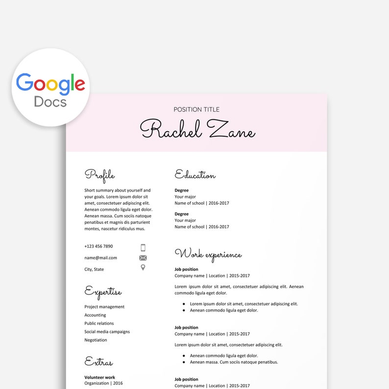 Editable Resume Google Doc Cv