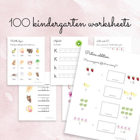 100 KINDERGARTEN WORKSHEETS Printable Worksheets Etsy