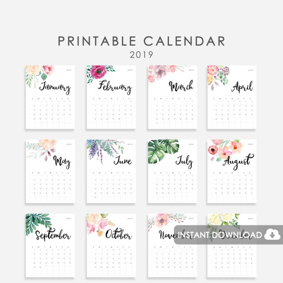 2019 Desk Calendar Printable Watercolor Botanical Floral