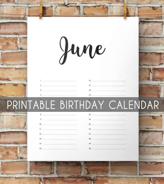 Birthday Calendar Printable Perpetual Birthday Calendar Etsy