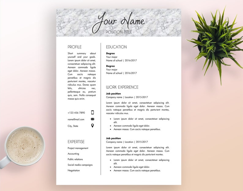 Resume Template Cover Letter Template Printable Word | Etsy
