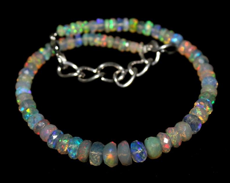 Faceted Bracelet Handmade Bracelet Jewelry Making 85 Natural ETHIOPIAN FACETED OPAL Beaded Bracelet Opal Beads Faceted Gemstone Beads
