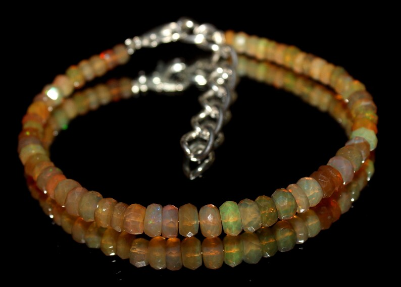 fiery Opal Gemstones Opal Bracelet skinny bracelet Yellow Bracelet Genuine Ethiopian Opal Rondelles Healing Crystals 91 stack Bracelet