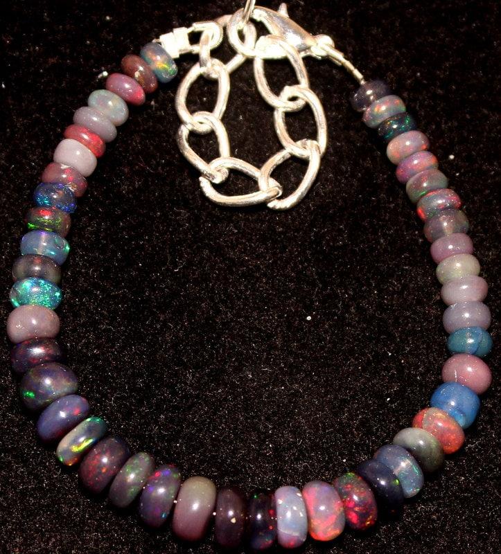 31,00 CRT 5 5 5 mm à 7 mm 5.4» naturelle Ethiopian Opal noir bracelet perles 0018 d12094