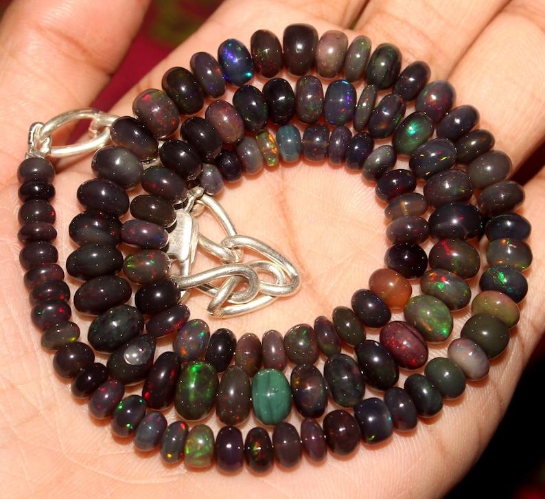 16.2 Inch Ethiopian Black Opal Strand 5-8mm  Black opal Beads  Ethiopian Opal beads strand  Black opal beads Necklace 79.75 Crt Gift 34