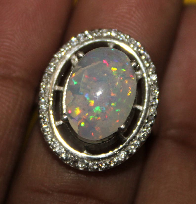 Jewelry 104 Delicate Opal Ring White Opal and CZ Ring Opal Stacking Ring Sterling Silver Opal Ring Dainty Opal Ring Bridesmaid Gift