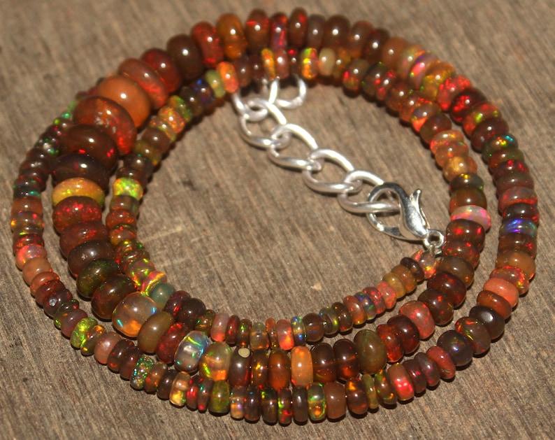 Ethiopian Welo Opal Beads Black Opal Beads Necklace,Smoked Opal Beads,Opal Strand 12 AAA Natural Black Opal Ethiopian 3.5-9 MM 16Inch