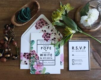 DIY PRINTABLE Botanical Wedding Invitations // Modern Wedding Invitation set. Tropical wedding invitations. Beach wedding invite. Creative