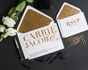 Gold Glitter Wedding Invitation suite / DIY Printable wedding invitation / Modern Wedding invite / Creative Wedding invitation cards