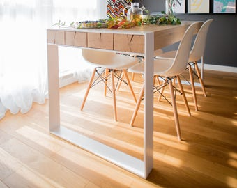 ASPEN. Solid oak and steel dining table. Handmade