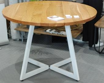 FREE EU SHIPPING. Ready to Ship! Extendable cherry wood round table on white base