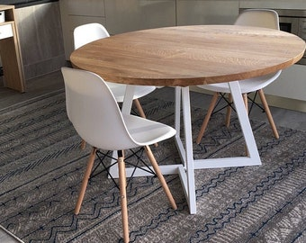 FREE USA SHIPPING. Extendable round table modern design steel and timber