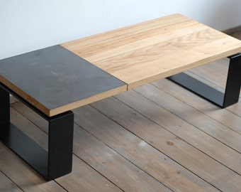 Reclaimed brass plate and oak coffee table