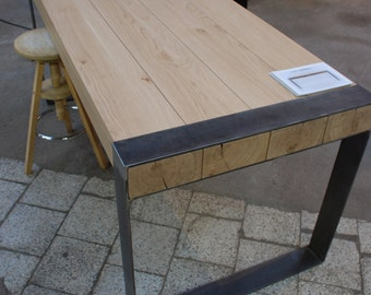 Handmade dining table. Contemporary minimalistic design. Steel and timber.