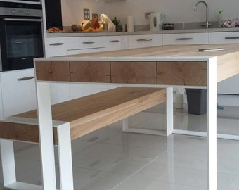 Handmade dining set - steel & timber table with asorted bench - ready to ship!