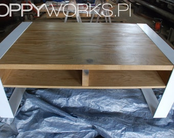 Contemporary handmade coffee table. Solid wood and steel