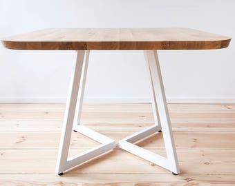 FREE EU SHIPPING. Pixie Solid oak square dining table on steel base