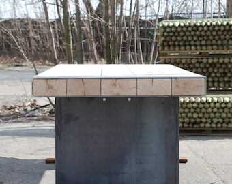 Industrial table. Solid oak and steel plate legs. Handmade