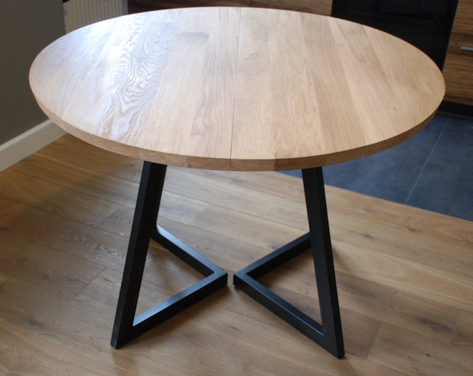 Featured listing image: Extendable round table modern design steel and timber