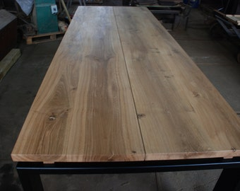 Handmade contemporary table. Steel and timber