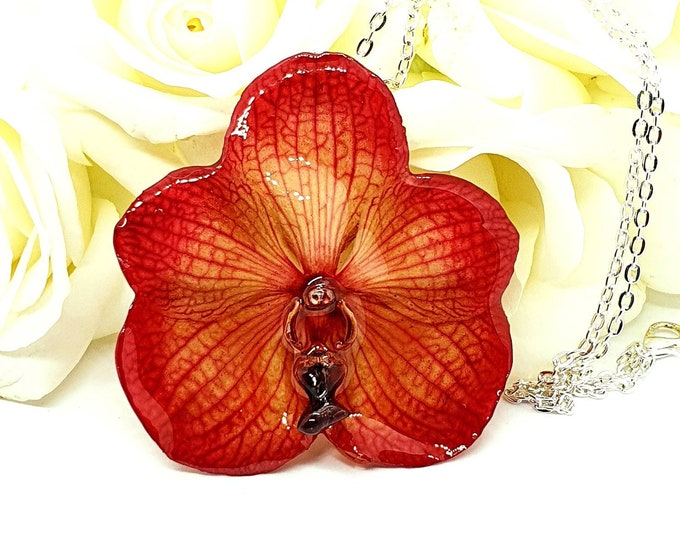Real Vanda Orchid Flower Necklace in Pink
