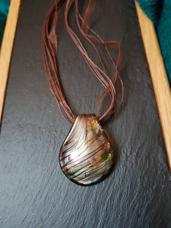 Bronze Amber brown Murano glass pendant on brown cord and ribbon necklace