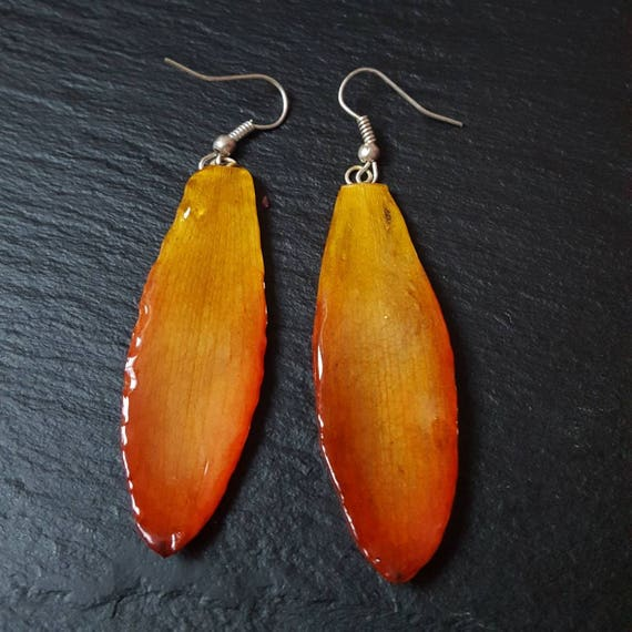 Real orchid Cattleya long petal earrings in orange and yellow